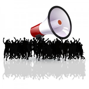 A crowd with a megaphone